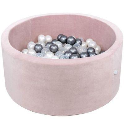 Piscine à balles ronde velours rose personnalisable (90 x 40 cm)