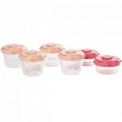 Lot de 6 pots de conservation rose clair et corail (60 ml et 120 ml)  par Béaba