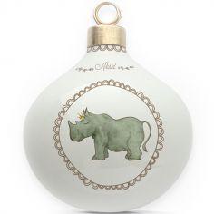 Boule en porcelaine Rhinocéros couronne (personnalisable)