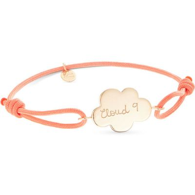 Bracelet bébé sur cordon Nuage personnalisable (plaqué or)  par Merci Maman