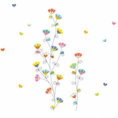 Sticker farandole de fleurs et coeurs
