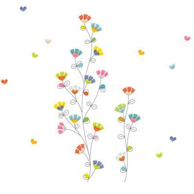 Sticker farandole de fleurs et coeurs  par Série-Golo
