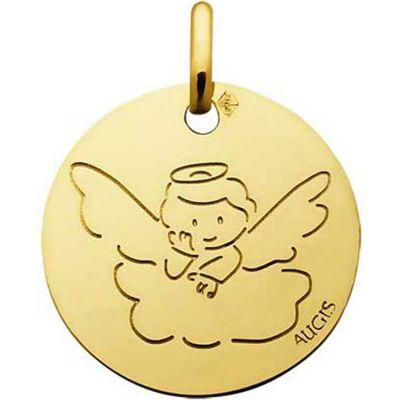 Médaille Ange auréole sur un nuage 16 mm personnalisable (or jaune 750°)  par A.Augis