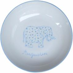 Assiette creuse Elephant bleu personnalisable