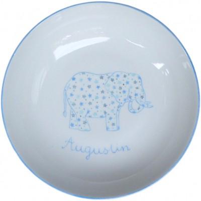 Assiette creuse Elephant bleu personnalisable  par Laetitia Socirat