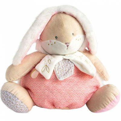 Peluche range pyjama rose Lapin de sucre  par Doudou et Compagnie