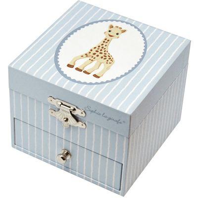 Boîte à bijoux musicale phosphorescente Sophie La Girafe bleu clair  par Trousselier