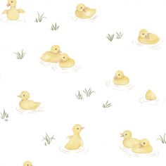 Papier peint intissé Canards jaunes Lucky ducky (10 m)