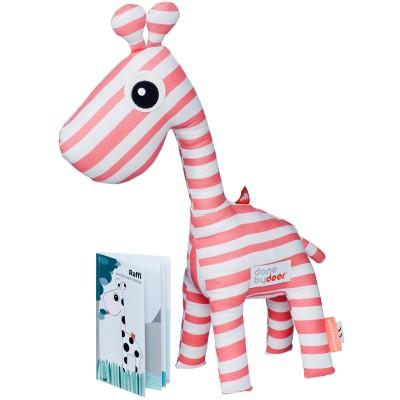 Coffret peluche déco Raffi la girafe + livre rose Done by Deer