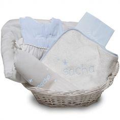 Coffret de naissance corbeille bleu (personnalisable)