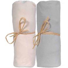Lot de 2 draps housses en coton bio écru et gris (60 x 120 cm)