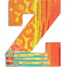 Lettre Z en bois Paon