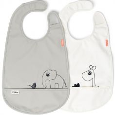 Lot de 2 bavoirs imperméable à velcro Deer Friends gris