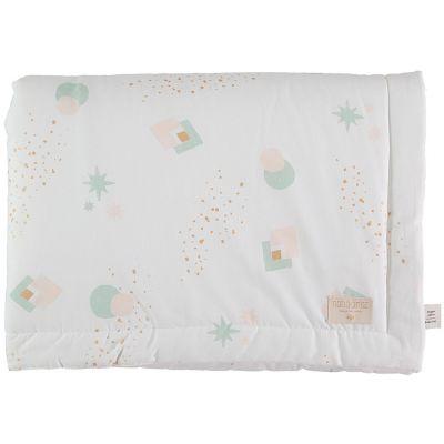 Mini couverture bébé Laponia coton bio Aqua eclipse White (70 x 70 cm)  par Nobodinoz