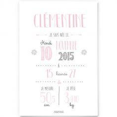 Affiche de naissance A4 rose pâle (personnalisable)