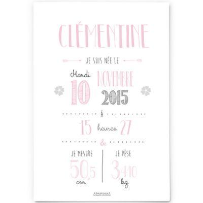 Affiche de naissance A4 rose pâle (personnalisable)  par La Poupette à paillettes