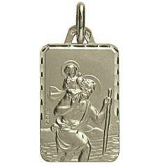 Médaille Saint Christophe facettée (or blanc 750°)