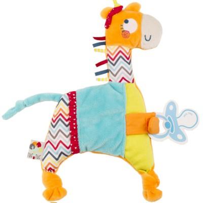 Doudou plat attache sucette African Routes girafe   par Tuc Tuc