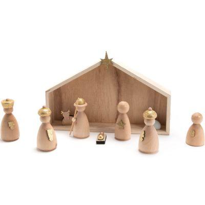 Crèche de Noël en bois et santons  par Amadeus Les Petits
