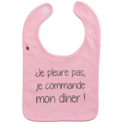 Bavoir à velcro Je pleure pas, je commande mon dîner rose pastel  par BB & Co