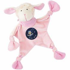 Doudou plat mouton signe verseau rose (19 cm)
