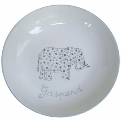 Assiette creuse Elephant gris personnalisable  par Laetitia Socirat