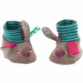 Chaussons lapin Jolis pas beaux taupe (0-6 mois) - Moulin Roty