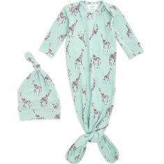 Body combinaison à nouer + bonnet girafe Jade (0-3 mois)