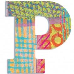 Lettre P en bois Paon
