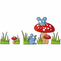Stickers muraux 2 souris et champignons