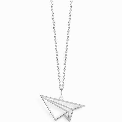 Collier chaîne 40 cm pendentif Origami avion 20 mm (argent 925°)  par Coquine