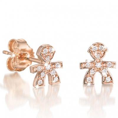 Boucles d'oreilles Briciole garcon (or rose 750° et pavé de diamants)  par leBebé