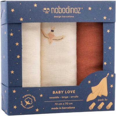 Lot de 3 langes en coton bio Toffee (70 x 70 cm)  par Nobodinoz