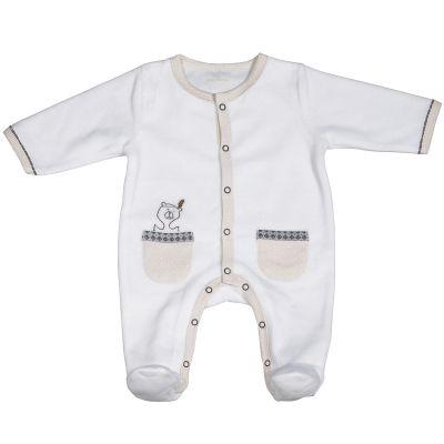 Pyjama chaud Timouki blanc (1 mois)  par Sauthon