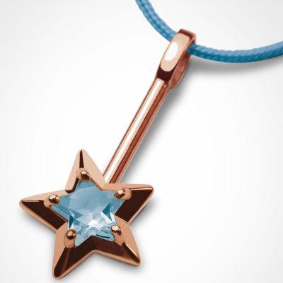 Collier cordon 'Abracadabra' Topaze bleue (or rose 750°)  par Mikado