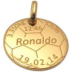Médaille de naissance football personnalisable (or jaune 375°)