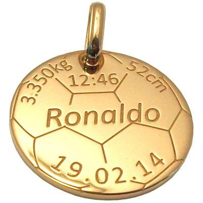 Médaille de naissance football personnalisable (or jaune 375°)  par Alomi
