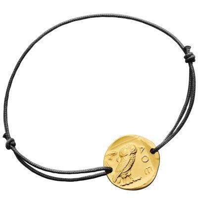 Bracelet cordon La Chouette d'Athènes (or jaune 750°)  par Monnaie de Paris