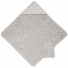 Cape de bain et gant de toilette Mix & Match gris (75 x 75 cm)