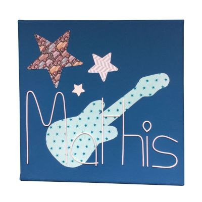 Tableau guitare bleu personnalisable (20 x 20 cm) Marie-Laure Créations