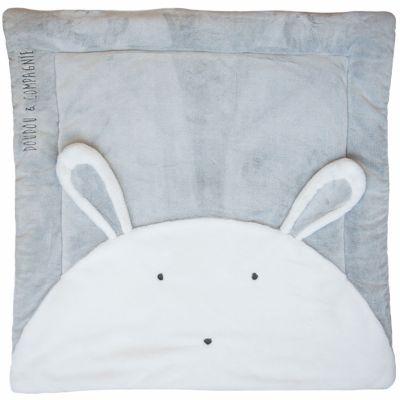 Tapis de jeu Tapidou lapin gris (100 x 100 cm) Doudou et Compagnie