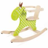 Cheval à bascule vert anis à pois blancs - Scratch