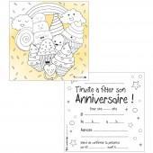 Lot de 10 cartes d'invitations à colorier desserts gourmands - Petits canaillous