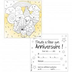 Lot de 10 cartes d'invitations à colorier desserts gourmands