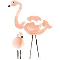 Stickers muraux flamant rose Flamingo by Lucie Bellion
