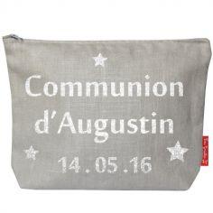 Pochette baptême ou communion gris (personnalisable)