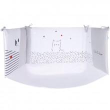 tour de lit i love gris pour lit 60 x 120 cm ou 70 x 140. Black Bedroom Furniture Sets. Home Design Ideas