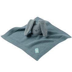 Doudou plat en tricot lapin bleu-vert Lapidou