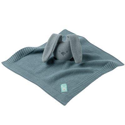 Doudou plat en tricot lapin bleu-vert Lapidou  par Nattou