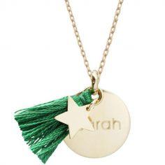 Collier médaille ronde Boréal vert (plaqué or)